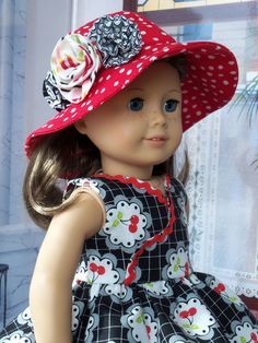 PDF Sewing Pattern for American Girl Dolls Summer by Farmcookies Hat pattern included