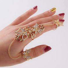 Rhinestone Flower Butterfly Full Finger Rings for Women Gold Chian Link Double Armor Ring Wholesale Hand Jewelry, Custom Jewelry, Jewelry Rings, Jewelry Watches, Diy Jewelry, Jewelry Accessories, Silver Jewelry, Jewellery, Full Finger Rings