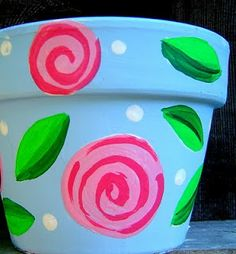 Painting these roses are so stinkin' easy and fool-proof that it's practically immoral. Supplies: Acrylic paint and some paint brushes , . Painted Pavers, Painted Pots, Decor Crafts, Diy Crafts, Hippie Designs, Clay Pot Crafts, Brick And Stone, Dollar Store Crafts, Mason Jar Crafts