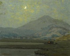 Granville Redmond (USA 1871-1935)  Tamalpais in Moonlight with a Moored Vessel in the Marshes Below (c. 1920-30)