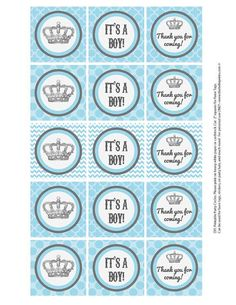 Favor Tags   Baby Shower Crown Theme  Baby Blue by BellePrintables, $5.00