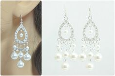 Wedding Jewelry Bridal Chandelier Earrings Handmade by Amanda Badgley Designs | Wedding Ideas | Bride and Bridesmaid Jewelry