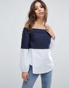 £27 ASOS Off Shoulder Top With Contrast Stripe Hem