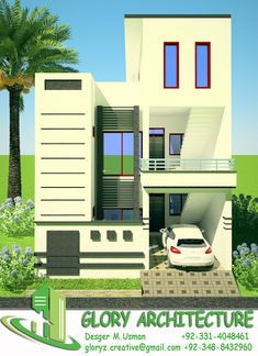 New House Front Elevation 5 Marla 42 Ideas Duplex House Design, Duplex House Plans, House Front Design, Modern House Plans, Small House Plans, Town House Plans, Basement House Plans, House Elevation, Front Elevation