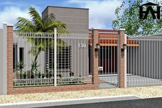 muro com grade & grade no muro + muro com grade + muro com grade de ferro + muro com grade residenciais + grade de ferro para muro + muro com grade simples + muro de grade + grade muro Contemporary House Plans, Industrial House, Door Gate Design, House Fence Design, House Front, House Gate Design, Exterior Design, Luxury House Designs, Building A Container Home