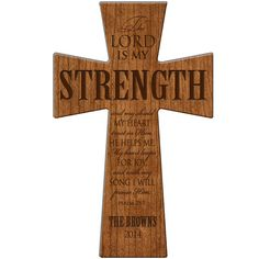 The Lord is my Strength and my shield Psalm 28:7 cross ,Personalized wall cross, wedding cross, Parent gift, wooden wall cross, Family Gift