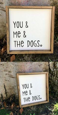 You & Me & the Dogs Rustic Framed Sign. Farmhouse Style Decor, Housewarming Bridal Shower Gift Idea, Wedding Gift Idea, Husband Gift Idea, Living Room Wall Art, Rustic Farmhouse Dog Lover Wall Art, Bedroom Wall Art #affiliatelink