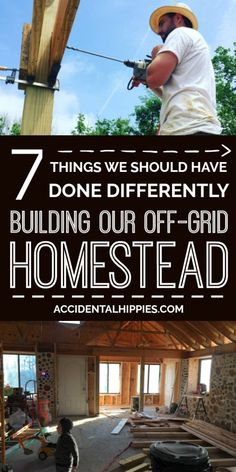 Here's what you can learn from the 7 things we SHOULD have done differently when we built our own off the grid homestead. From planning to finances and floor plan issues, learn from our mistakes to make your homestead even better. Off Grid Homestead, Homestead House, Homestead Living, Homestead Layout, Off Grid House, Off Grid Cabin, Off The Grid Homes, Cordwood Homes, Small American Kitchens