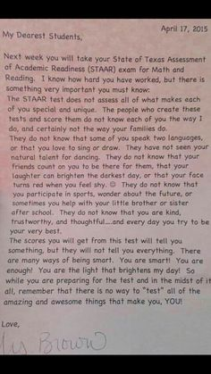 Letter to kids before state exam. Written by teacher in TX, published on FB page Momastery