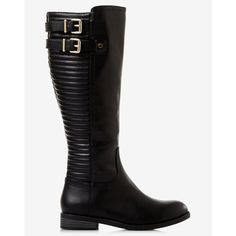 Express Black Quilted Riding Boot ($80) ❤ liked on Polyvore featuring shoes, boots, black, buckle boots, low heel boots, quilted boots, sport boots and short heel boots