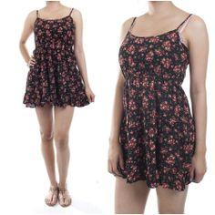 ebclo- Lovley Black Ruffle Mini Dress Floral Prints Spaghetti Straps New $16.00 Free Domestic Shipping