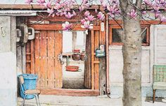 Artist Me Kyeoung Lee has spent the last two decades documenting the tiny convenience stores and corner shops that dot the streets of South Korea. She illustrates the stores, which are now quickly disappearing, with a dedication to the small details that make each unique. Mismatched chairs can be se