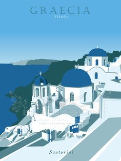 Original Vintage Santorini, Greece Travel Poster.