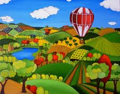 Visit our full catalog of figurative painting - naïve art. Henri Rousseau, Tuscany Landscape, Landscape Art, Balloon Illustration, Organic Art, Spanish Artists, Naive Art, Aviation Art, Pictures To Paint