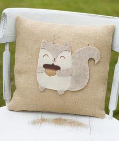 Quirky Decorative Felt Squirrel Burlap Pillow by lollipoppillows