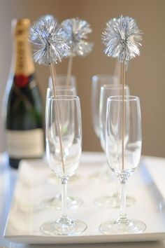 ˚New Year Silver Sparkler Champagne Flutes
