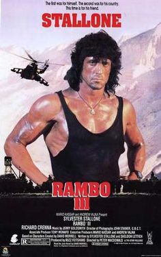 """Here is an from the 1988 action sequel film -""""RAMBO III"""" - starringSylvester Stallone, Richard Crenna, Marc DeJonge, Spiros Focas and Kurtwood Smith. Great, hard to find addition for the """"RAMBO"""" collectors! 80s Movie Posters, 80s Movies, Action Movies, Great Movies, 1980s Films, Sylvester Stallone Rambo, This Is Us Movie, Love Movie, Movie Tv"""