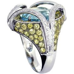 18K White Gold Ring set with Blue Topaz, Yelllow Sapphire and Diamond