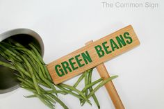 GREEN Beans Garden Marker, BEANS Garden Sign, Painted & Oil Sealed Cedar Wood: Hand Routed Sign    This listing is for a hand routed BEANS Garden