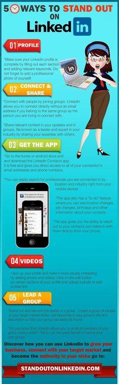5 pasos para hacer tu perfil más visible en Linkedin: Perfil acurado, Compartir contenido, liderar un grupo, poner videos y utilizar las apps.