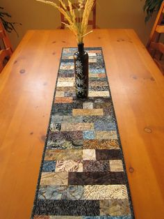 Quilted Table Runner Earth Batik. $39.95, via Etsy.   Love the colors!