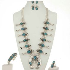 Navajo Squash Blossom Jewelry Set Blue Bisbee Turquoise