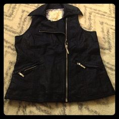faux leather vest Final sale, price is firm! Excellent condition, never worn! Pet/smoke free home. Asymmetrical zip, faux leather Arden B vest! Your fall/winter wardrobe will thank you! No trades! No rips, stains or tears! The fabric of this is more distressed/ wrinkled. Arden B Jackets & Coats Vests