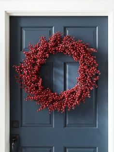 Faux Red Berry Christmas Wreath (Pottery Barn) #ad #potterybarn #redwreath #wreaths #berries #christmas #exterior Christmas Wreaths, Christmas Decorations, Natural Christmas, Holiday Crafts, Pottery Barn, Berry, Exterior, Flowers, Red