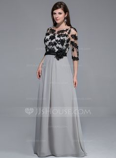 A-Line/Princess Scoop Neck Floor-Length Chiffon Tulle Charmeuse Evening Dress With Lace Flower(s) (017026209)