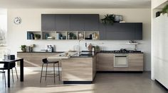 Verrière Cuisine: Offene Küche in der modernen italienischen Design Lounge , Kitchen Interior, Kitchen Design Open, Scavolini Kitchens, Kitchen Remodel, Contemporary Kitchen, Kitchen Cabinets For Sale, Home Kitchens, Kitchen Living, Kitchen Design