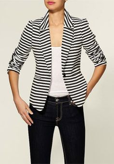 So true - I could use a few good blazers.A blazer over a shirt and jeans adds the right amount of polish at work. Bleecker Blazer from Tinley Road Striped Blazer Outfit, Striped Jacket, Blazer Outfits, Blazer Dress, Dress Outfits, Moda Fashion, Womens Fashion, Cute Blazers, Black Blazers