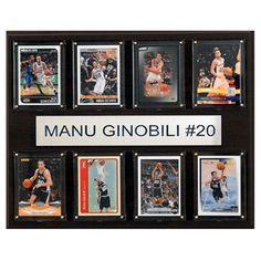 C and I Collectables NBA 15W x 12H in. Manu Ginobili San Antonio Spurs 8 Card Plaque - 1215GINOBILI8C