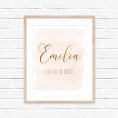 Nursery Name, You Are So Loved, Nursery Decor Girl, Custom Print by LilaPrints. Girls Room Wall Art, Baby Girl Nursery, Baby Shower Gift Baby Girl Bedroom. Perfect artwork for the nursery decor. Modern, chic, sophisticated. #Biblequotes #wallart #bedroomdecor #homedecor