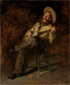 Western American Art | Denver Art Museum | Thomas Eakins, American, 1844–1916. Cowboy Singing. 1892, Oil paint on canvas. Jointly acquired in honor of Peter H. Hassrick by the Denver Art Museum and the American Museum of Western Art---The Anschutz Collection and by exchange from funds from 1999 Collectors' Choice, Sharon Magness, Mr. & Mrs. William D. Hewit, Carl & Lisa Williams, Estelle Rae Wolf - Flowe Foundation and the T. Edward and Tullah Hanley Collection, 2008.491