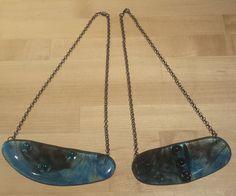 Pilisa's newest Blue Pendant Necklaces-made of fused glass at AMusinGlass studio, Sedona