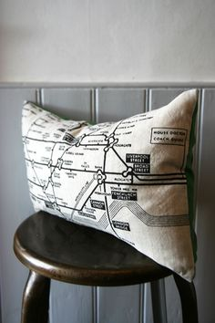A cushion with a map of the London Underground - reminds me of Neverwhere!