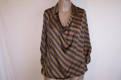 WORTHINGTON Shirt Top Blouse Size M Drape Neck 3/4 Sleeve Brown Navy Womens NWT #Worthington #Blouse #Career