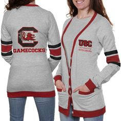 South Carolina Gamecocks Ladies Study Hall Long Sleeve Cardigan - Ash