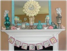 Building a DIY Country Inspired Fireplace Mantel Summer Mantel Shabby Cottage, Shabby Chic Homes, Cottage House, Summer Mantle Decor, Used Cardboard Boxes, Fireplace Mantels, Mantles, Holiday Lights, Mercury Glass