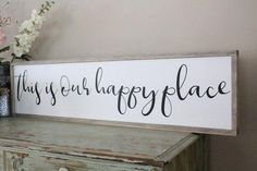 This Is Our Happy Place Framed Wood Sign, Living Room Wall Art, Farmhouse Decor, Wood Sign Saying, I Wood Signs Sayings, Sign Quotes, Wooden Signs, Wall Sayings, Quote Wall, Painted Signs, Bless The Food, Living Room Accessories, Tuscan Decorating