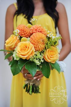 Beautiful Bridesmaids' Bouquet of Yellow Orange Green Bouquet of Dahlias, Roses, Hydrangeas,  & Billy Buttons | Jessica Frey Photography