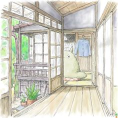 Pretty drawing of the Kusakabe house (with hiding Totoro) Hayao Miyazaki, Chat Bus, Isao Takahata, Grave Of The Fireflies, The Cat Returns, Studio Ghibli Movies, Castle In The Sky, Howls Moving Castle, Film Studio