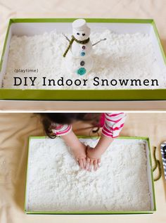 "Fun idea for indoor ""snow"". DIY indoor snowman, sensory activity from Modern Parents, Messy Kids Sensory Activities, Craft Activities For Kids, Winter Activities, Sensory Play, Projects For Kids, Sensory Table, Christmas Toddler Activities, Preschool Winter, Winter Crafts For Kids"