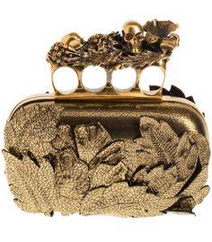 Alexander McQueen Gold Floral Knuckle Clutch.