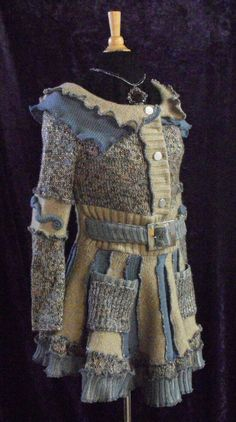Women Fall recycled upsycled jacket coat size small medium One of a kind wearable art patchwork grey and beige hand sewn details casual on Etsy, $261.21 AUD