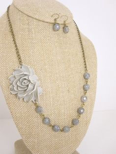 Hey, I found this really awesome Etsy listing at https://www.etsy.com/listing/73715406/grey-necklace-gray-necklace-flower