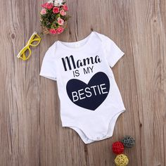 2a5db8134 Newborn Kids Baby Infant Boy Girl Cotton Bodysuit Love Pattern Mama is My  Bestie Jumpsuit Outfit Clothes Summer-in Bodysuits from Mother & Kids on ...