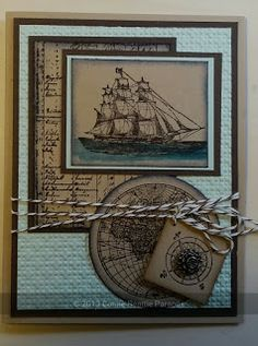 Stampin' Up! The Open Sea - By Carole Parsons Stampin' Up! Masculine Birthday Cards, Birthday Cards For Men, Masculine Cards, Scrapbooking Technique, Boy Cards, Men's Cards, Nautical Cards, Beach Cards, Fathers Day Cards