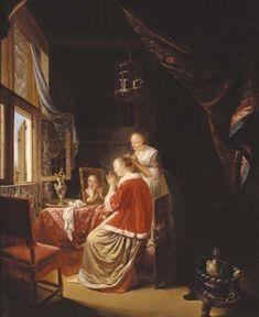 Het ochtend toilet. Jaar: ? Particulier bezit. Kopie naar Gerard Dou: Jonge vrouw aan haar toilet. 1667
