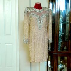 Vintage 1980s Salmon with Silver Sequins and Silver and Salmon Beads, Faux Pearls Cocktail Dress by MyVintageJewels, $125.00